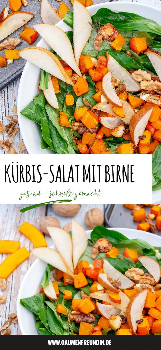 Kürbissalat Liebe ♡ Schneller und gesunder Kürbissalat mit Birne, Walnüssen, Feta, Feldsalat und einem Honigdressing - ein gesunder Herbstsalat - Gaumenfreundin Foodblog