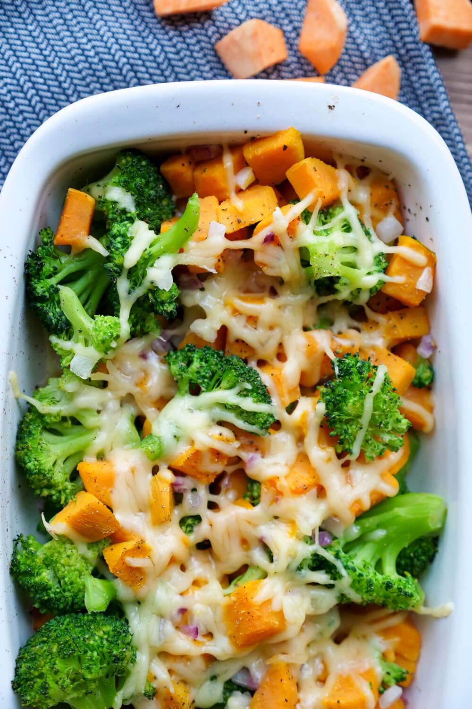 Brokkoliauflauf mit Süßkartoffeln - ein gesundes, farbenfrohes und schnelles Kinderrezept