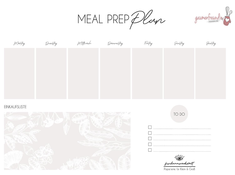 Gratis Meal Prep Wochenplan Vorlage mit Einkaufsliste - 2 - Gaumenfreundin Foodblog