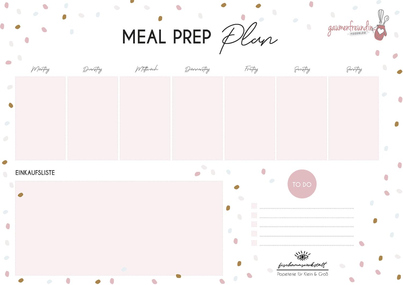 Gratis Meal Prep Wochenplan Vorlage mit Einkaufsliste - 3 - Gaumenfreundin Foodblog