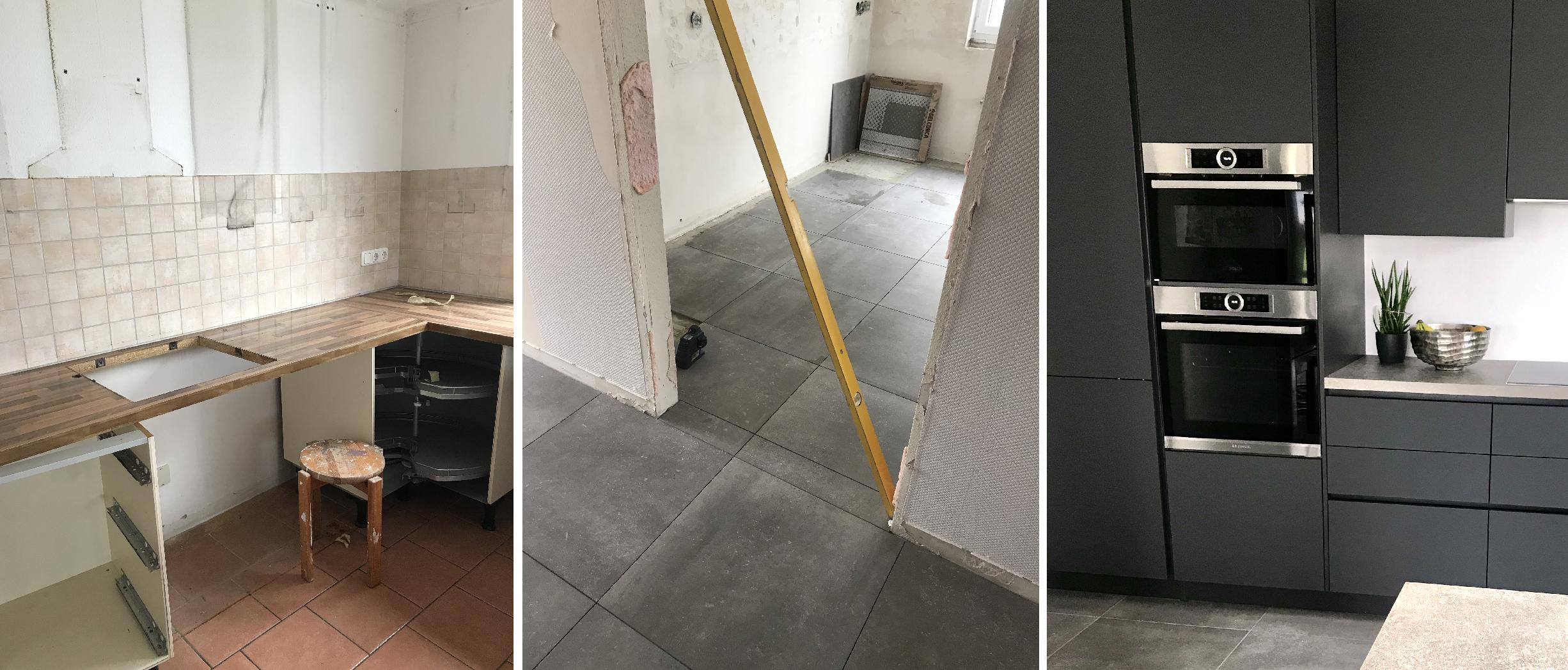 Küchenrenovierung im Einfamilienhaus - neue grau Fliesen in Betonoptik und neue moderne Küche in anthrazit