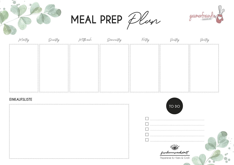 Gratis Meal Prep Plan zum Ausdrucken - mit Wochenplaner, Einkaufsliste und ToDos