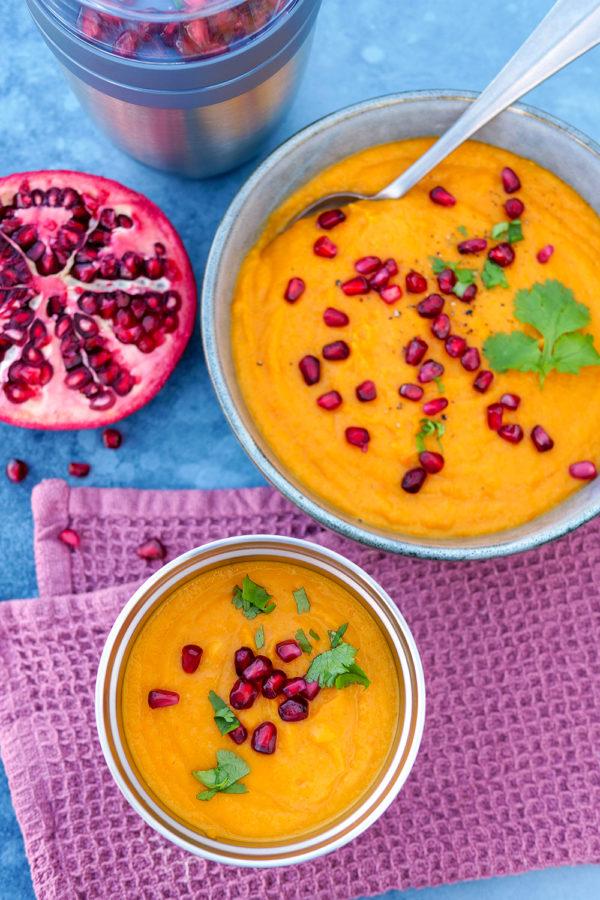 Suppe mit Süßkartoffeln und Möhren zum Glücklich löffeln