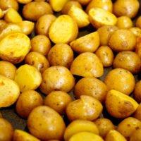 Halbierte Kartoffeln werden in der Pfanne angebraten