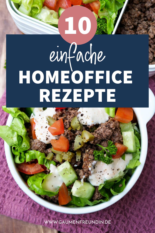 10 einfache Homeoffice Rezepte wie der Big Mac Salat mit Hackfleisch und Tomaten