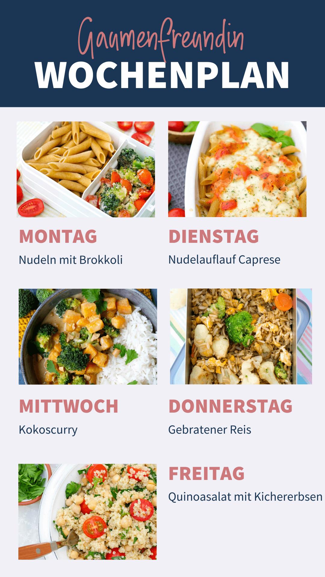 Vegetarischer Wochenplan für dein Meal Prep von Gaumenfreundin
