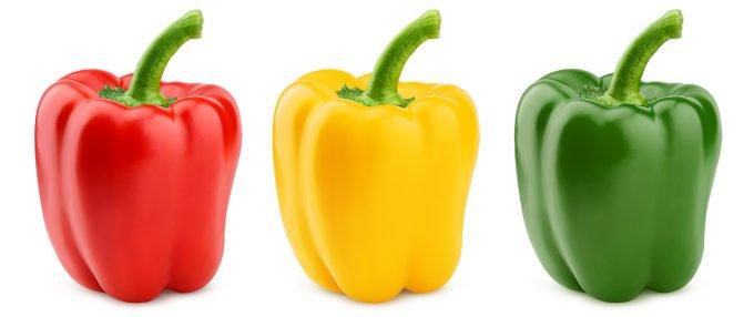Gemüsepaprika in Ampelfarben