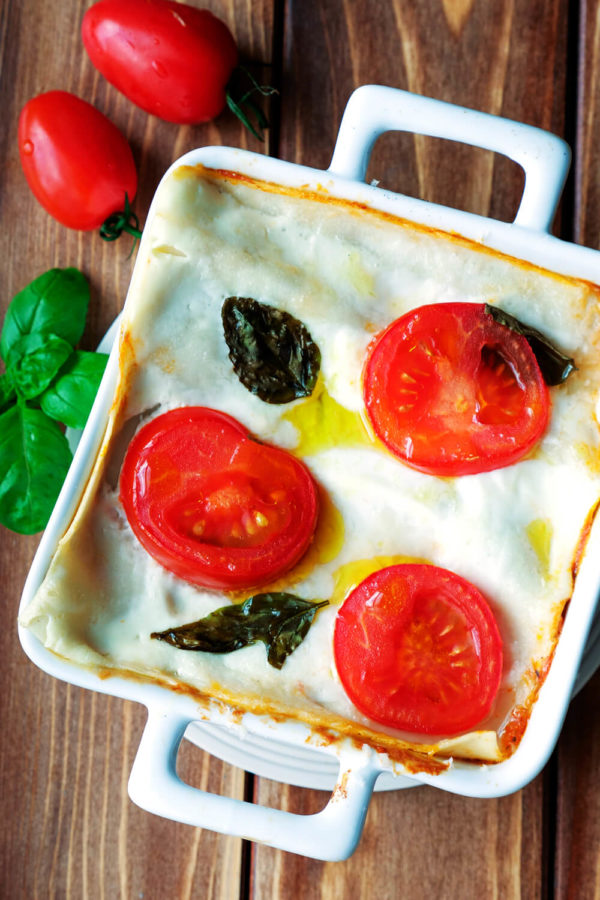 Lasagne mit Hackfleisch in der Auflaufform