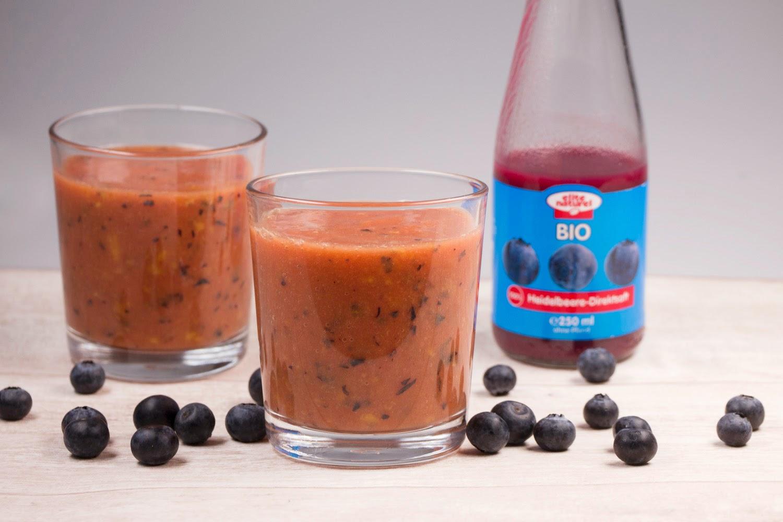 Rezept - Heidelbeer-Passionsfrucht-Mango-Smoothie mit Heidelbeer-Direktsaft